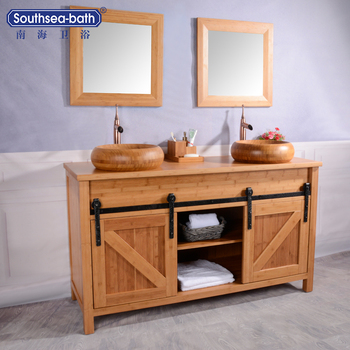 Curved Bamboo Natural Color Bathroom Vanitycabinets With Two Interesting Bamboo Vanity Bathroom