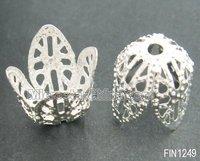 Silver tone stock iron jewelry bead caps