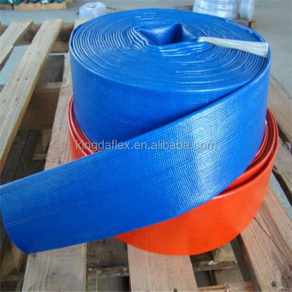 Yellow or Blue PVC Layflat Water Delivery Pipe - Discharge Hose Pump Irrigation