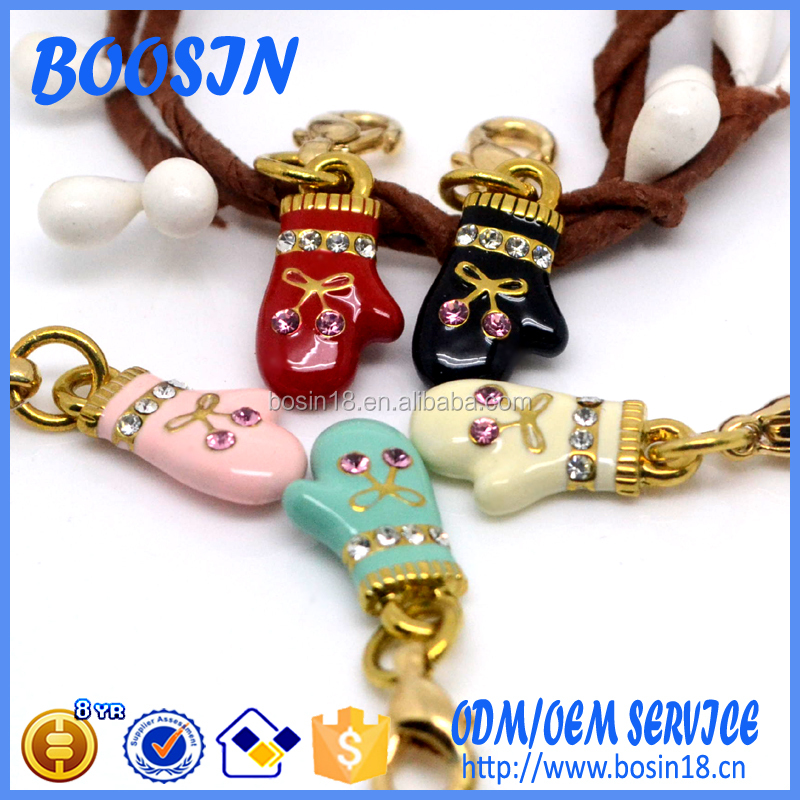 Fashion Enamel Glove Charm Pendant for Costume Jewelry