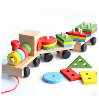 hot sale geometric building blocks children play moving wooden car
