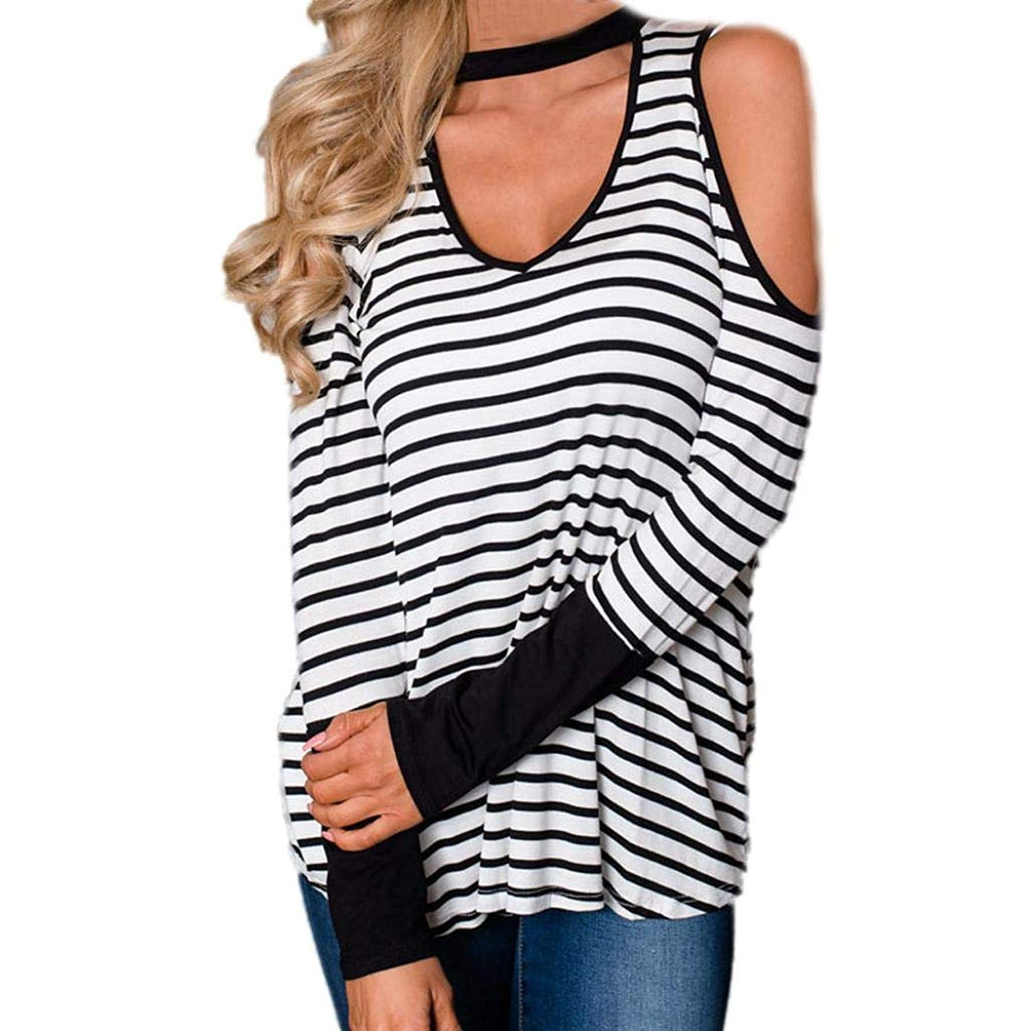 Feitengtd Cold Shoulder Women T-Shirt V-Neck Long Sleeve Loose Fit Tunic Casual Pullover Tops