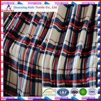 58inch Offset Printing checked printed paid coral fleece fabric for blanket home set