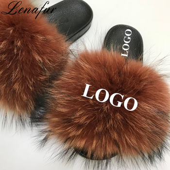 dd7db424f3335 Best Selling Wholesale Custom Logo Fur Slides Slippers Extra More Fluffy  Real Raccoon Fur Slides Sandals Slippers For Women - Buy Custom Fur ...