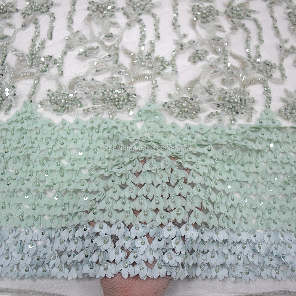 Exclusive luxury african mint green pure handmade beaded lace with sequins 3d flower tulle lace fabric for bridal HY0773-6 фото