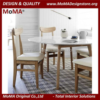 Marmt Modern Dining Room Furniture White Marble Top Round Dining - Dining table white legs wooden top