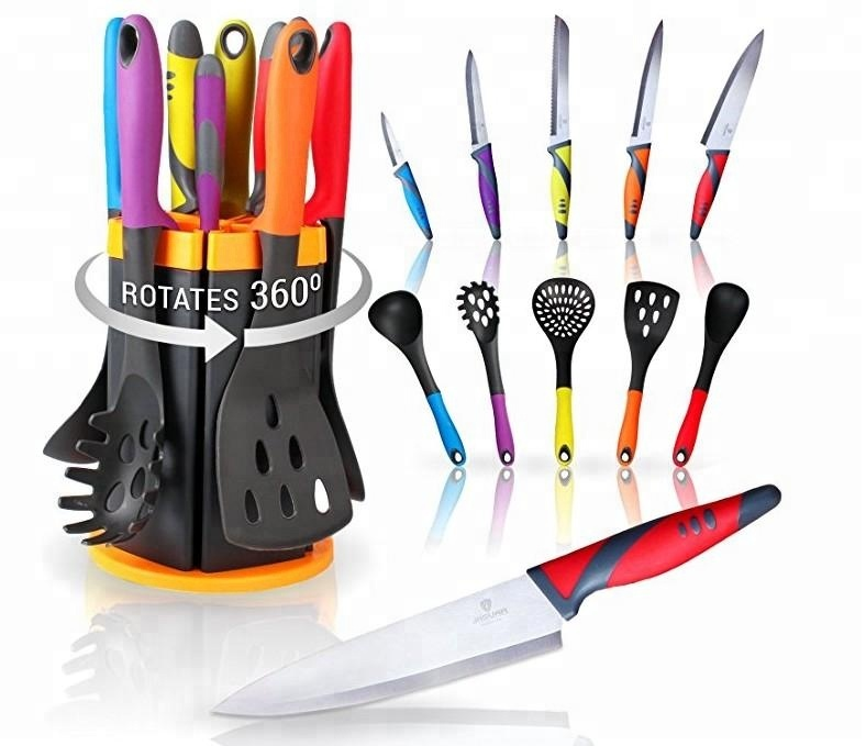 11pcs Kitchen knife and Utensil <strong>set</strong> with Rotating Stand, Kitchen <strong>Set</strong> with 5 Knives and 5 Utensils in Attractive Rotating Holder