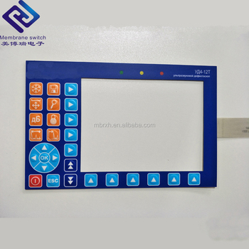 Custom Tactile Buttons Membrane Overlay Switch With LCD Clear Window And LED Light