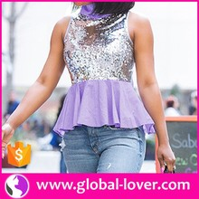 Fashion peplum tops bling bling sleeveless high collar blouse women