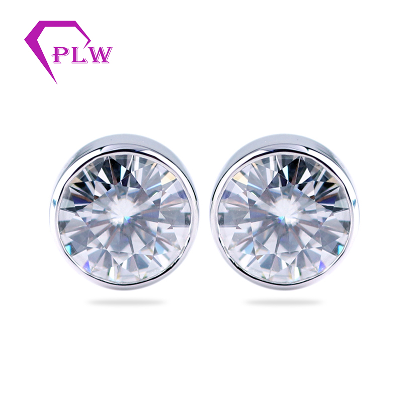 Fashion earring designs new moissanite diamond earrings 14k white gold earring