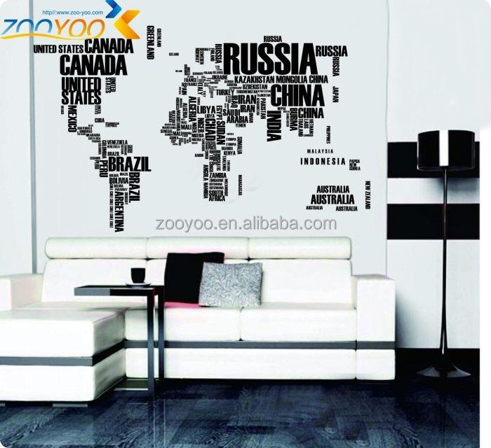 originele zooyoo wereldkaart muur decoratieve muur sticker ...