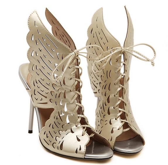 08aaea054d94d9 Get Quotations · New Brand Luxury Women s Gold High Heel Sandals Summer  Leather Sandals Woman Wing Pumps Cross Tied