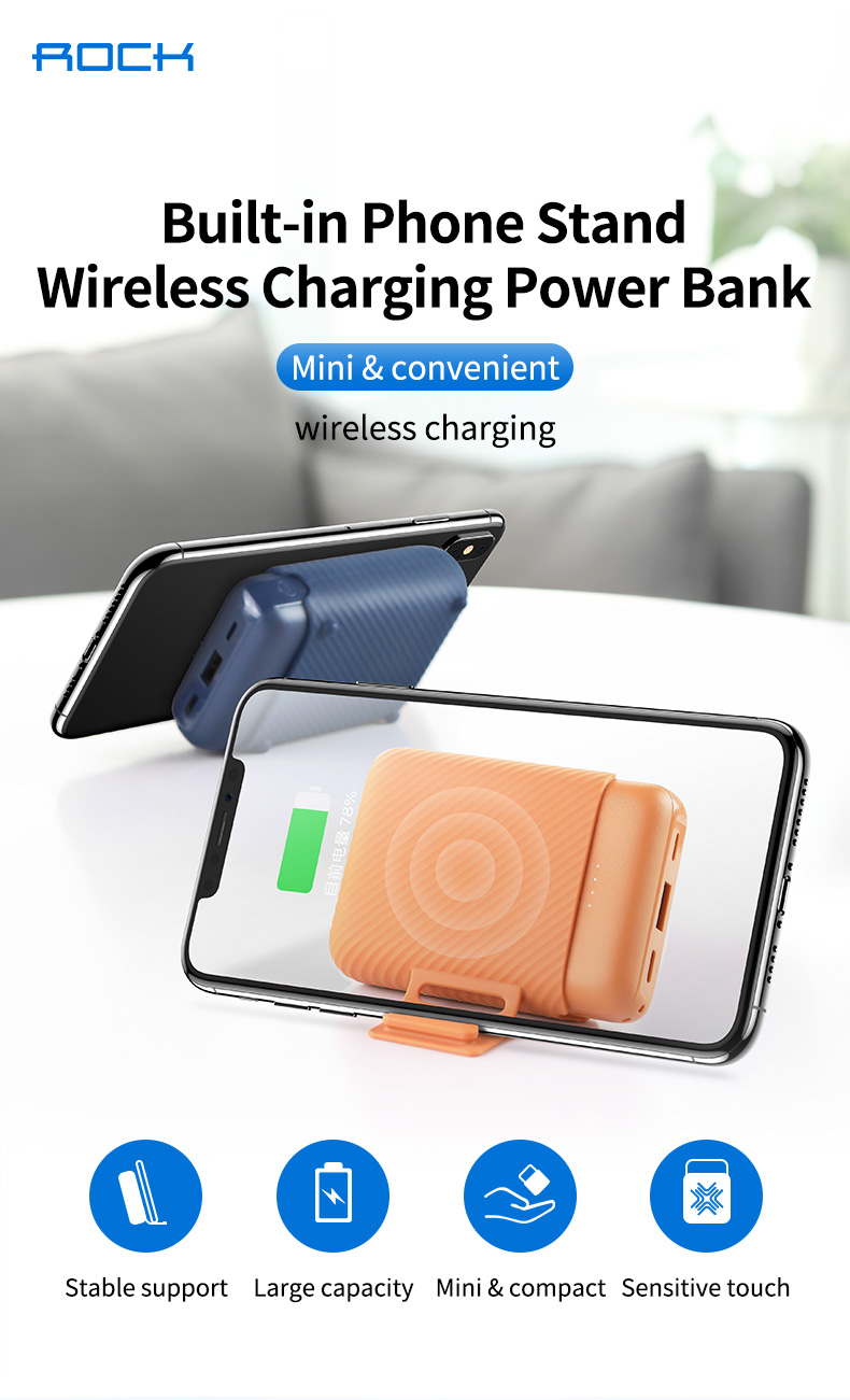 ROCK P51 Mini Wireless Charging Power Bank 10000mAh Portable Charger Dual USB Powerbank for iPhone x for Samsung