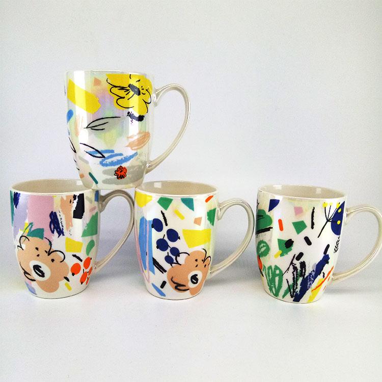 Großhandel Multicolor Rim Keramik Becher 11 unzen feine tee Druck kaffee keramik becher individuell bedruckte knochen china tassen