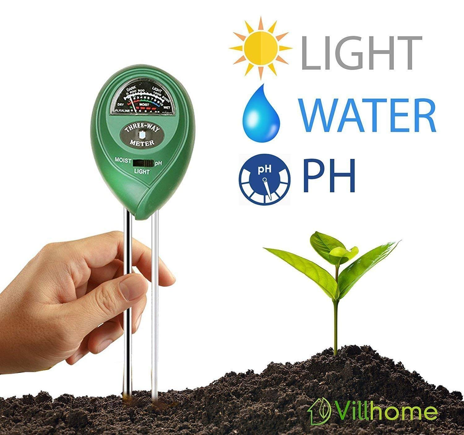 Villhome Soil pH Meter, 3-in-1 Soil Test Kit For Moisture, Light & pH, A Must Have Soil pH Meter For Home and Garden, Lawn, Indoor/Outdoors Plant Care Soil pH Tester, Best Soil pH Meter for 2018