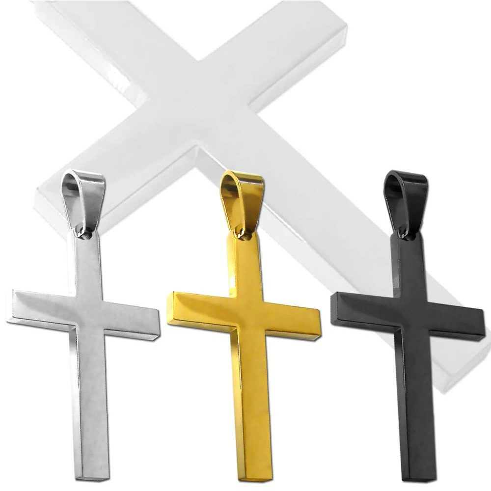 Unique Silver Gold Black Plated Wholesale 316L Stainless Steel Cross Pendant