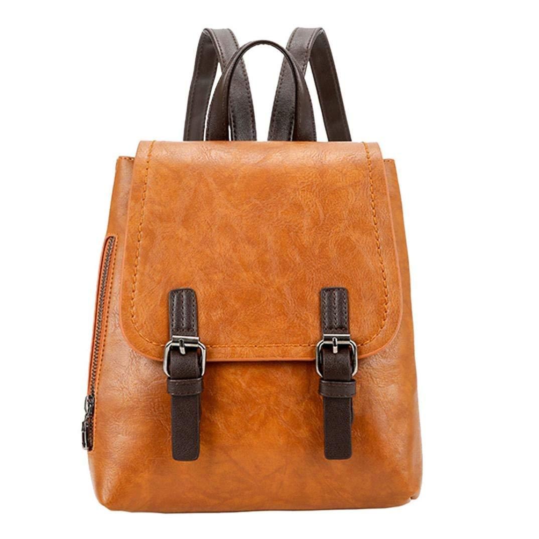 Vintage Women Student Pure Color PU Leather Shoulder Bag School Bag Tote Backpack Messenger Bag Faionny