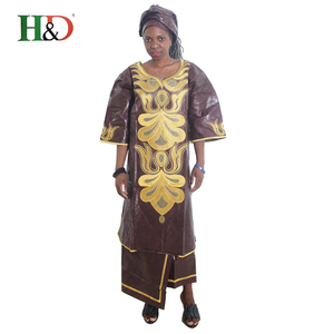 H & D Cotton Embroidery Saree Clothing Custom Fit Kitenge Designs Nigerian African Dress Styles For Women
