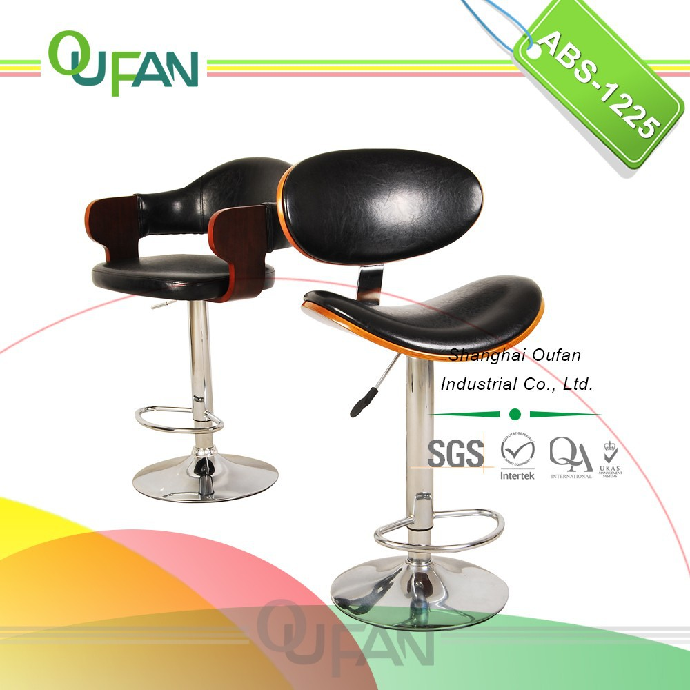 Black Leather Swivel Leather Wooden Bar Chair