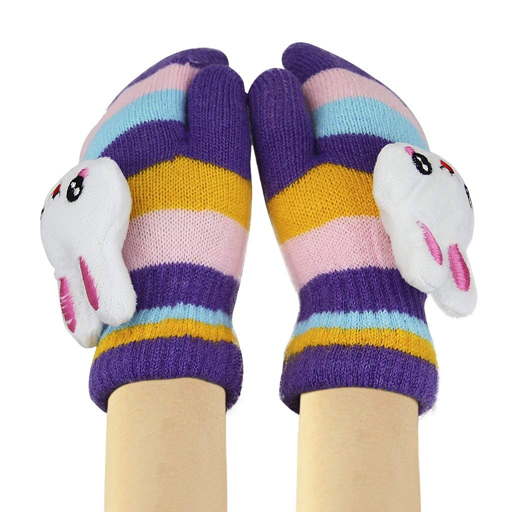 Toddler Kids Cartoon Cute Rabbit Gloves Girls Boys Winter Warm Wool Knit Gloves Children Thicken Lined Hang Neck Hand Warmer Mittens with String Outdoor Windproof Ski Thermal Gloves Christmas Gift