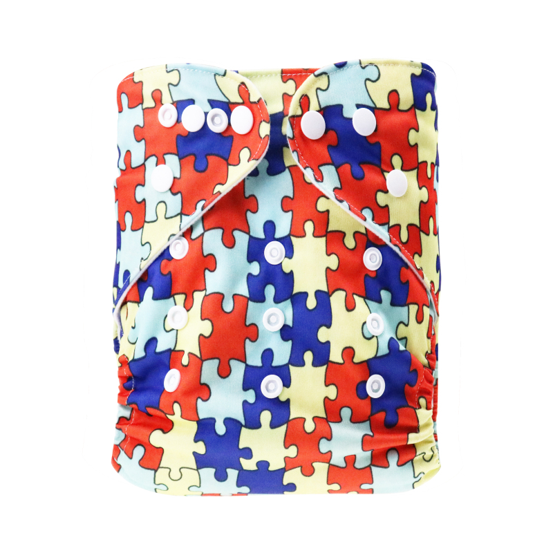 Baby cloth double row buttons diapers adjustable washable&reusable printing red puzzle patterns baby products
