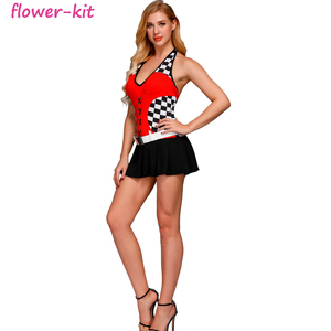 Racer Racing Sport Driver Costume Super Car Grid Girl Fancy Dress Outfit