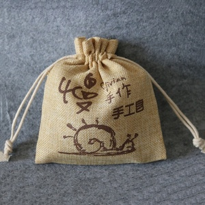 Free Sample Printed Cosmetic Packaging Handmade Burlap Bag