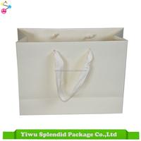 Elegant Custom Wedding Paper Bag With Ribbon Satin Handle Plain White Gift Bag