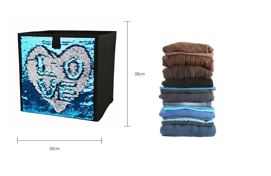 Metalik glitter katlanabilir oyuncak olmayan dokuma karton çekmece saklama kutusu kumaş dekoratif katlanır katlanabilir kutuları