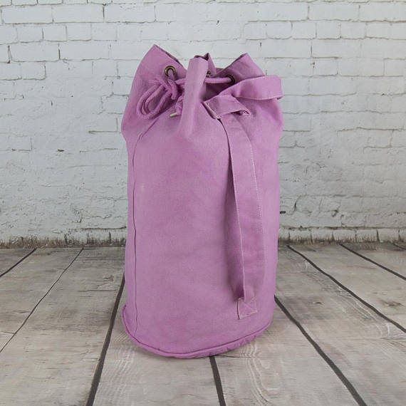 KEREN wholesale hand dyed pale pink canvas sailor Luggage drawstring hand bag