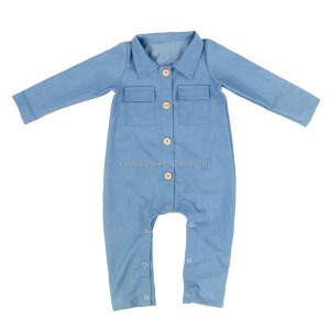 Autumn Latest Fashionable Baby Clothes Wholesale Newborn Baby Jeans Denim Rompers