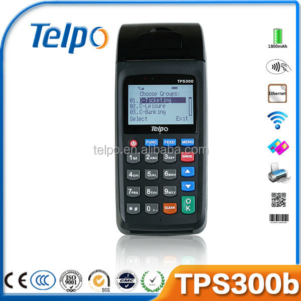 Telpo wireless handheld nfc reader pos machine with printer TPS300b
