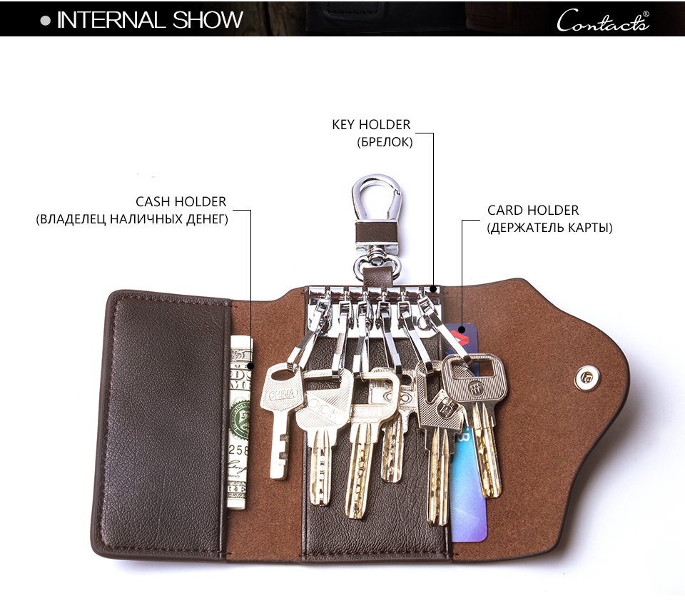 CONTACT'S Cow Skin Leather Car Key Bag Men Custom Key Chain Holder