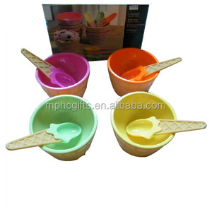Popular customized Plastic Ice Cream Dessert Serving Bowl