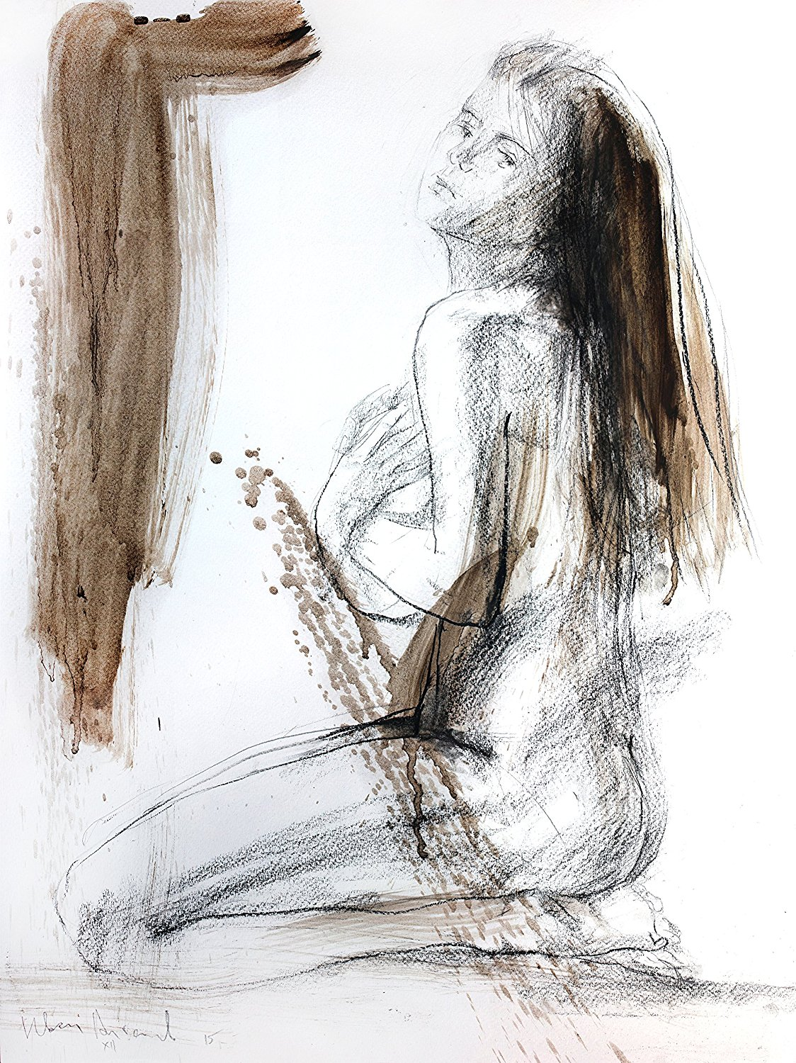 Figurative Wall art Original drawing Charcoal Woman sketch Abstract Female Figure art sketch Mixed media graphic artwork Woman sketch