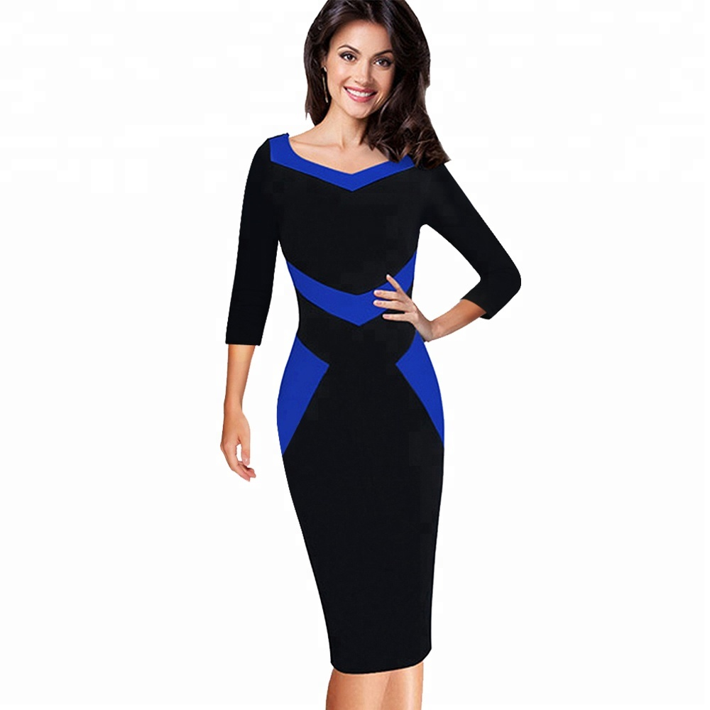 Elegant Optical Illusion Patchwork Contrast Bodycon Casual Office Career Dress фото