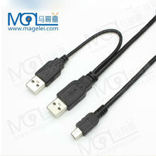 2 in 1 USB 2.0 cable Type A Male to Mini B 5pin Male Data Power PC HDD Y-Cable