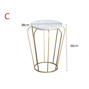 Nordic furniture gold iron wire side table coffee table with marble on top modern