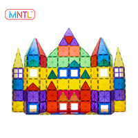 Preschool DIY magna tiles 100pc clear color 3d magnetic tile building set intelligence building blocks for kids