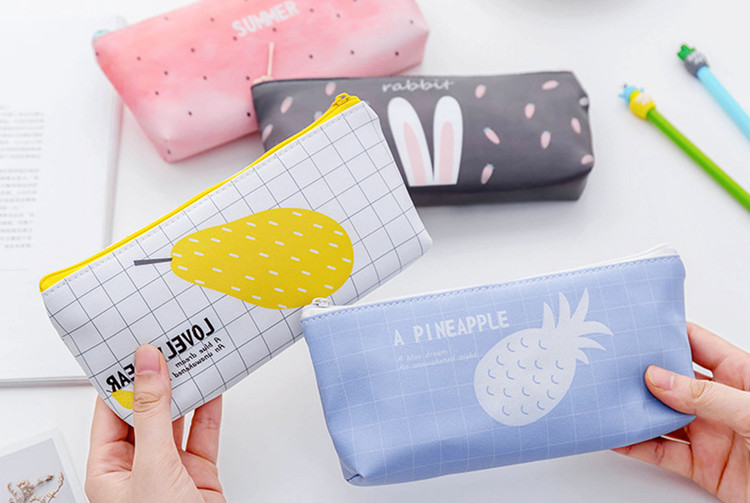 School pu leather pencil case fruit watermelon pineapple pencil bag for girls stationery kawaii pencil box office suppliers