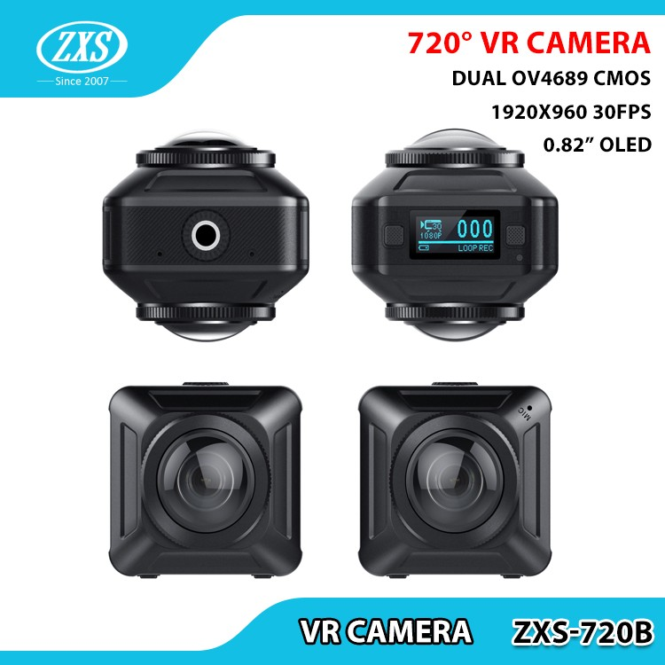 Go pro style 4k 30fps 16MP 360 VR camera dual lens 720 degree panoramic action camera ZXS-X720