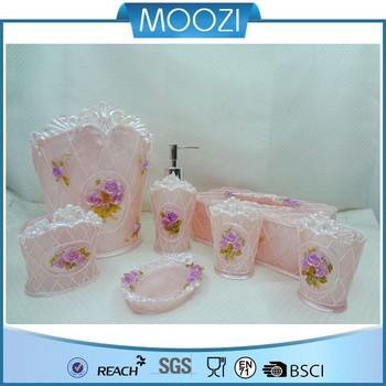 Floral Pink 3d Flower Bathroom Accessory Set Bathroom Accessories ...