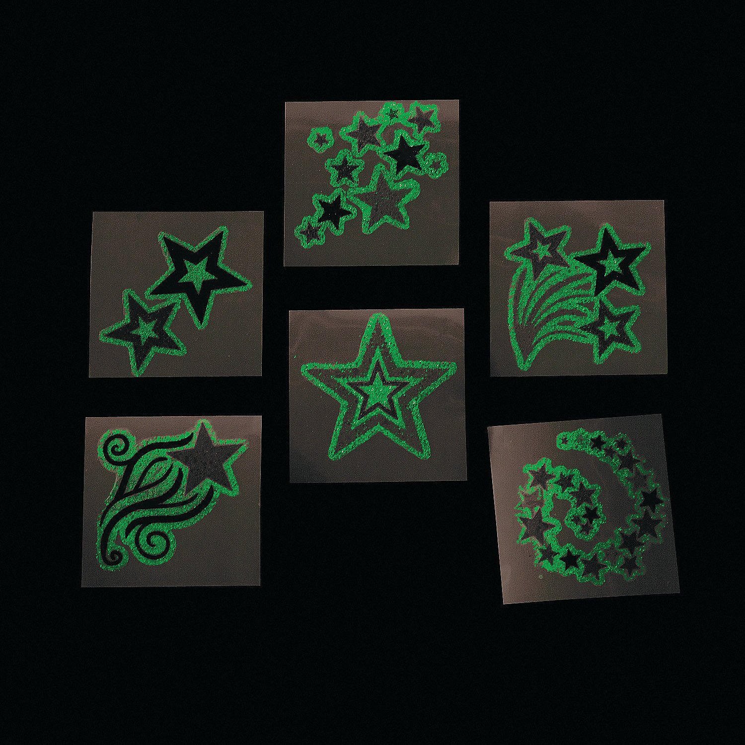 a3378bd27390 Get Quotations · 144 Pack Glow In The Dark Star Temporary Tattoos 1 1 2  Inches