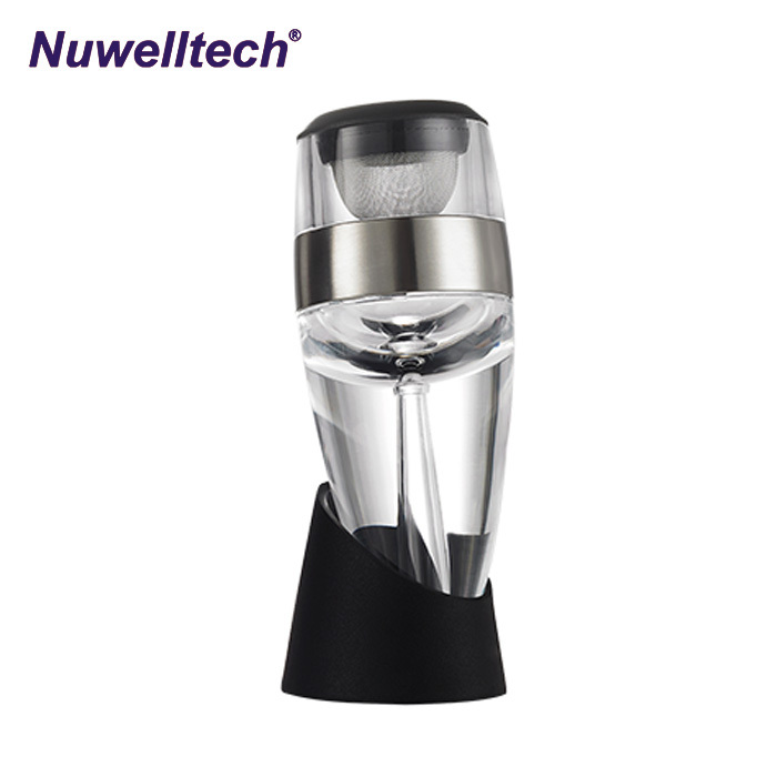 Good price Food grade AS & Stainless steel ring wine aerator pourer decanter 2 in 1 fast wine decanter