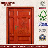 GSP1-023 Entry Front Unequal Double Doors For Homes solid core exterior wood door