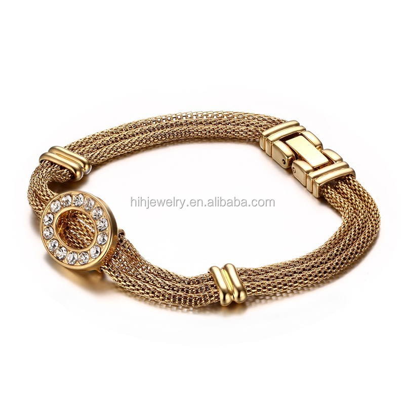 three layers mesh chain bracelets oval crystal women bracelets ladies stainless steel box clasp bracelet
