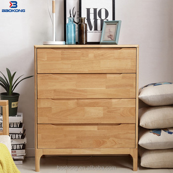 Solid Wood 4 Drawer Storage Cabinet