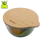 Wholesale salad bowl glass bamboo lid