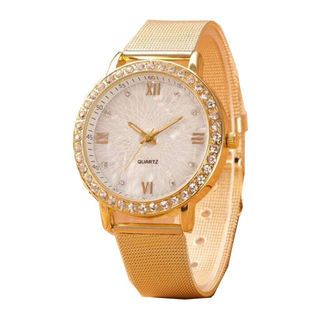 Redvive Classy Women Ladies Crystal Roman Numerals Gold Mesh Band Wrist Watch
