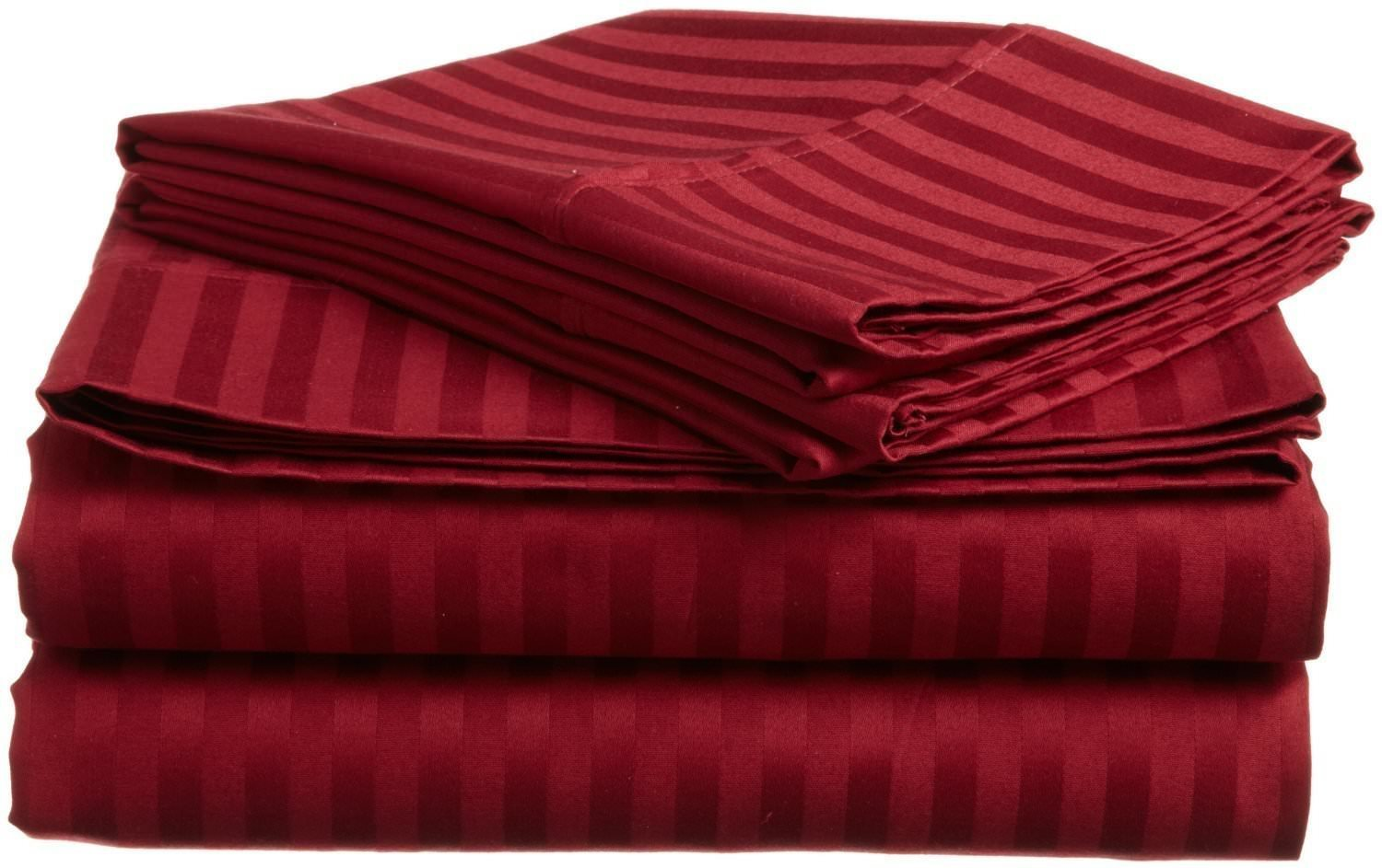 Home Decore Linen Luxurious Hotel Quality 700 Thread Count Egyptian Cotton Queen 4 Piece Sheet Set fits up to 9 Inch mattresses ( Deep Pocket ), Striped Burgundy